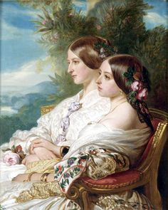 Queen Victoria and her cousin, the Duchess of Nemours by Franz Xaver Winterhalter, 1852.