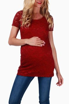 Expectant gals can expect easy chic in this feminine staple. A lace overlay keeps the casual silhouette polished, while the right amount of stretch makes blossoming bumps look their best. Cute Maternity Outfits, Maternity Wear, Maternity Tops, Maternity Fashion, Stylish Maternity, Maternity Style, Pink Blush Maternity, Mom Style, Blush Pink