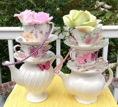 SPECIAL! Pair of Two Teapot & Teacup Centerpieces (Pearls, Key, Butterflies, Rose #1) Baby Shower, Bridal Shower, Mad Hatter Tea Party