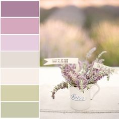purples, pales, greens