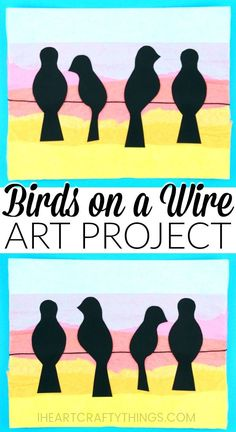 Learn how simple it is to create this birds on a wire art project. Yellow, orange, pink and blue tissue paper is layered to achieve a sunset background and the addition of the black bird silhouette's help the sunset colors pop off the page. Gorgeous bird art project for kids and silhouette art project for kids. #artprojectsforkids #artproject #kidscraft #papercraft #papercrafting #iheartcraftythings #birds