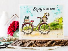 SSS BEAUTIFUL RIDE; watercolor; puppy in basket; six pack of beer; love the BEER; bike; adorable card; enjoy the little things