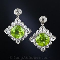 Peridot and Diamond Drop Earrings - Antique & Vintage Earrings - Shop for Jewelry