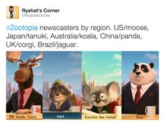The news anchor in Disney's Zootopia changes depending on which country you see the movie in. (via RyshatsCorner)   region-locked fursonas