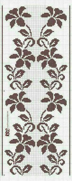 This Pin was discovered by sel Cross Stitch Borders, Cross Stitch Flowers, Cross Stitch Designs, Cross Stitching, Cross Stitch Patterns, Filet Crochet Charts, Crochet Cross, Knitting Charts, Folk Embroidery