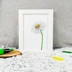 We are painting a Daisy today! What do you think? I used Gansai Tambi watercolors . Watercolors, Watercolor Paintings, 100 Day Challenge, Brush Lettering, Brush Pen, Modern Calligraphy, Daisy, My Arts, Frame