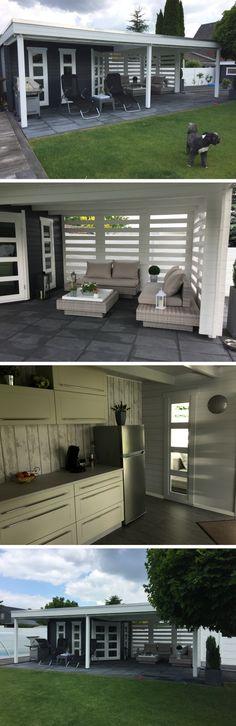Mit dem Gartenhaus Panama-40 können Sie auch bei Regen im Trockenen in Ihrem Garten sitzen.
