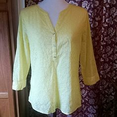 Tunic....Liz Claiborne yellow eyelet tunic Gorgeous sunshine yellow eyelet tunic perfect for spring with capris 27 inches long from collar to tail , almost 21 inches armpit to armpit. Shoulder to shoulder, 16 inches.Like new. Washed x1 Liz Claiborne Tops Tunics