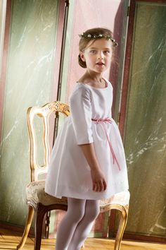 Lovely white taffeta dress with old pink velevet ribbon - perfect for a birthday party, any special Occasion or as a flower girl dress!  littleeglantine.com