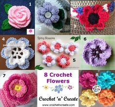 8 FREE crochet patterns for flower motifs http://crochetncreate.com/crochet-flower-motifs/ #crochetncreate #crochet #freecrochetpatterns