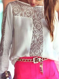 White Chiffon Long Sleeves Blouse With Lace Panel | Choies