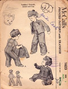 1950s Toddler Boys Vintage Sewing Pattern McCall's 1623 Overalls Dungarees Jacket & Cap Size 3 Chest 22 inches