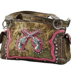 Brown Western purse with pink trim and pistols decal