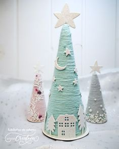 Christmas Holiday Paper Mache Cone Trees with twine or yarn, gold jeweled garlan. - Christmas Holiday Paper Mache Cone Trees with twine or yarn, gold jeweled garland, table or mantle - Cone Christmas Trees, Christmas Ribbon, Felt Christmas, Handmade Christmas, Christmas Holidays, Christmas Ornaments, Cone Trees, Christmas 2019, Christmas Projects