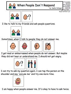 """When People Don't Respond"" Visual Social Story"