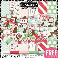 FREE Digital Scrapbooking, Project Life and Digital Pocket Scrapbooking Apple Of My Eye Mini Kit by Just Jaimee