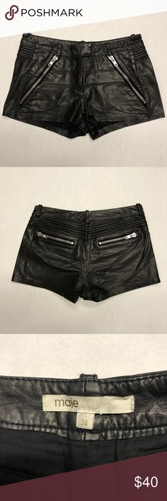 MAJE LEATHER MINI SKIRTS SIZE 34 100% Authentic Brand New NWOT MAJE black leather mini skirts   Size: 34   Thank you for looking at my closet and please contact me with any inquiries. Have a awesome day! Maje Shorts Jean Shorts