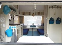 Would take a lot of white paint to redo camper...  Great makeover #caravan navy & sky blue?
