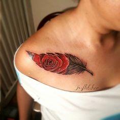 Amazing Feather Rose Tattoo Design