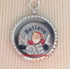 Santa Claus Red & Green Noel Christmas Holiday Living Locket Floating Charm Set for Origami Owl