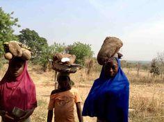 Fulani girls carrying freshly harvested African yams on their heads, Langa Langa Village, Nasarawa State, Nigeria, #JujuFilms
