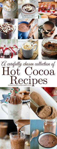 The Best Hot Chocolate Recipes. A carefully chosen collection of yummy hot chocolate recipes the whole family will surely love. Perfect for cold Winter days. Best Hot Chocolate Recipes, Cocoa Recipes, Hot Chocolate Bars, Dessert Recipes, Lindt Chocolate, Chocolate Drizzle, Chocolate Crinkles, Frozen Chocolate, Ham Recipes