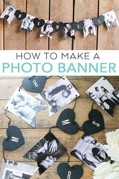 Learn how to make a banner with photos for a wedding or parties! Easy to make with a printable template to cut your photos! #wedding #diywedding #photos