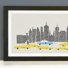 A stunning panoramic New York Cityscape print.  New York's beautiful skyline is one of the most famous in the world, and this gorgeous panoramic print brings it to life on your living room wall. Brimming with landmark buildings, vibrant people, and iconic yellow taxis, this city never fails to surprise and inspire. This beautiful print features our unique mid-century take on many of NYC's most famous buildings, from the humble water tower to the grand and glorious Chrysler building. Perfect…