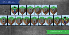 Minecraft banner  INSTANT DOWNLOAD  PRINTABLE by JenuineCards