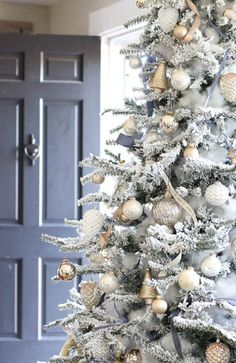 2016 Christmas Tree - Rooms For Rent blog - mixed metals with slate gray/blue accents and flocking