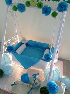 Diy easy cute cradle decoration naming ceremony for Baby cradle function decoration