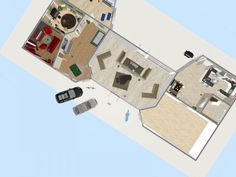 Click LIKE when you find the barbecue grill. Ready for summer cookouts?  3D floor plan, aerial view designed in RoomSketcher by martineonarheim, RoomSketcher user.
