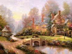 """Thomas Kincade ~ Beyond Spring Gate~ """"Guess You're Painting For The Angels Now, Thomas, And God Took You Because They Could No Longer Wait!"""" ~ C.C.Crystal."""