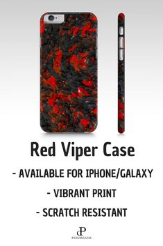 Red Viper phone case with exclusive print has scratch resistant finish and it's available for Galaxy or iPhone! Protect yur new phone with our selection of unique phone cases. T Mobile Phones, New Phones, Cool Phone Cases, Iphone Cases, Find Your Phone, Samsung, Viper, Cool Designs, Finding Yourself