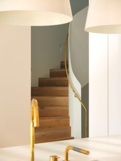 Founded in Pohio Adams Pty Ltd is an architectural and interiors design firm. Stair Shelves, Stairs And Staircase, Brass Wood, Design Firms, Contemporary Interior, Stairways, Home Projects, Furniture Design, Interior Design