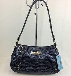 Kathy Van Zeeland Handbag Gator Glam Top Zipper Blue NWT