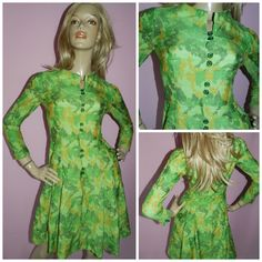Vintage 60s Green CAMOUFLAGE Effect printed DOLLY MOD Day dress 6-8 Xxs 1960s Modette by HoneychildLoves on Etsy