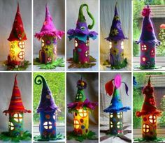 Artists Glass & Felt Creations to use for Inspiration to make Fairy Houses out of Recycled Material with your kids.