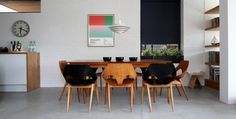 A simple Danish Modern table is the perfect backdrop for more sculptural bentwood dining chairs. Mixing straight lines and curves is typical in Danish Modern dining room furniture. Living Room Blinds, House Blinds, Scandinavian Chairs, Scandinavian Design, Scandinavian House, Diy Blinds, Window Blinds, Blinds Ideas, Dining Room
