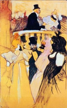 Henri de Toulouse-Lautrec, At the Opera Ball 1893, thinned oil, charcoal and gouache.