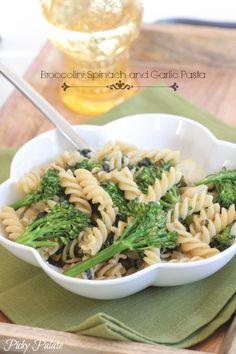 Broccolini, Spinach and Garlic Pasta (use whole wheat pasta)