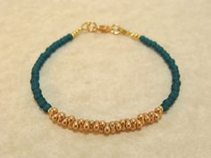 Teal and Gold Beaded Friendship Bracelet by SamanthaMelloJewelry, $13.00
