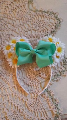 White Daisies Flowers Minnie Mouse Ears by DessieDaisiesDesigns