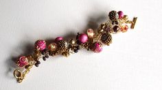 Pink and Gold Woven Beaded Bracelet by SweetCarolinaCharm on Etsy, $34.00