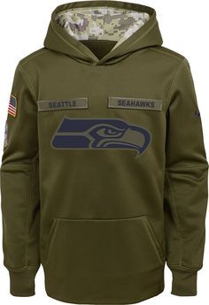 800fe1b5c Nike Youth Salute to Service Seattle Therma-FIT Olive Performance Hoodie