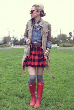 Top: GAP. Jacket: GAP. Skirt: Crewcuts. Socks: Madewell. Boots: Hunter. Scarf: H&M. Belt: RL Collection. Sunglasses: Karen Walker. Jewelry: BR, Max&Chloe, Michael Kors, David Yurman, Gap