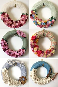 Felt wreaths with felt flowers, pretty, and one for every season too! Felt Flower Wreaths, Felt Wreath, Wreath Crafts, Diy Wreath, Felt Flowers, Flower Crafts, Felt Crafts, Fabric Flowers, Yarn Wreaths