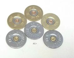 6 Recycled Shotgun Shell Head Charms Trendy Jewelry DIY--- cut off to make flat