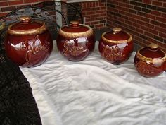 MINT Vintage Antique Hull Pottery Brown Drip Canister Jar set cookie hoosier