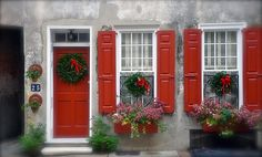 red door, red shutters, I wish! I think this is in Charleston SC Ste Agathe, Burglar Bars, Red Shutters, Southern Christmas, Coastal Christmas, Noel Christmas, Christmas Ideas, Xmas, Holiday Ideas